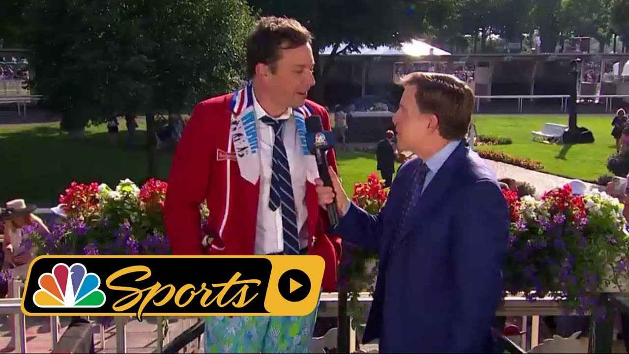 Jimmy Fallon falls doing karate at 2018 Belmont Stakes I NBC Sports
