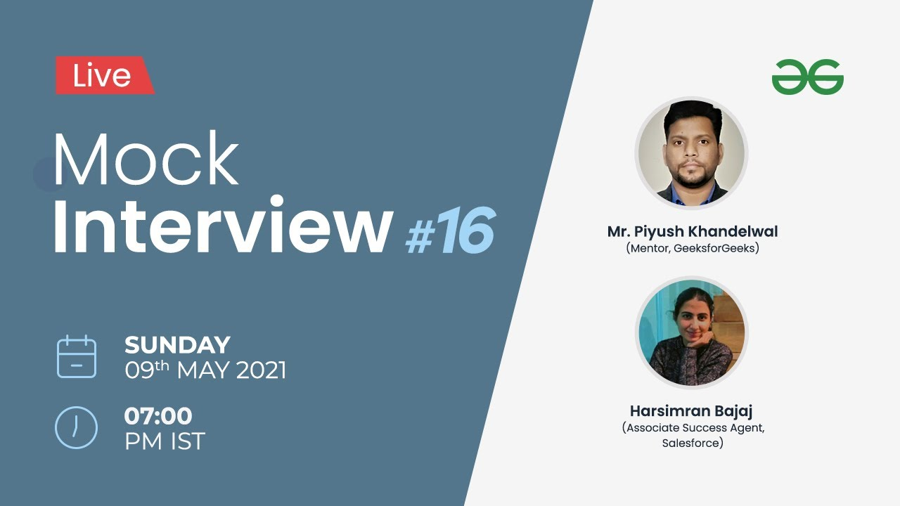 Live Mock Interview   Product & Service Based Companies