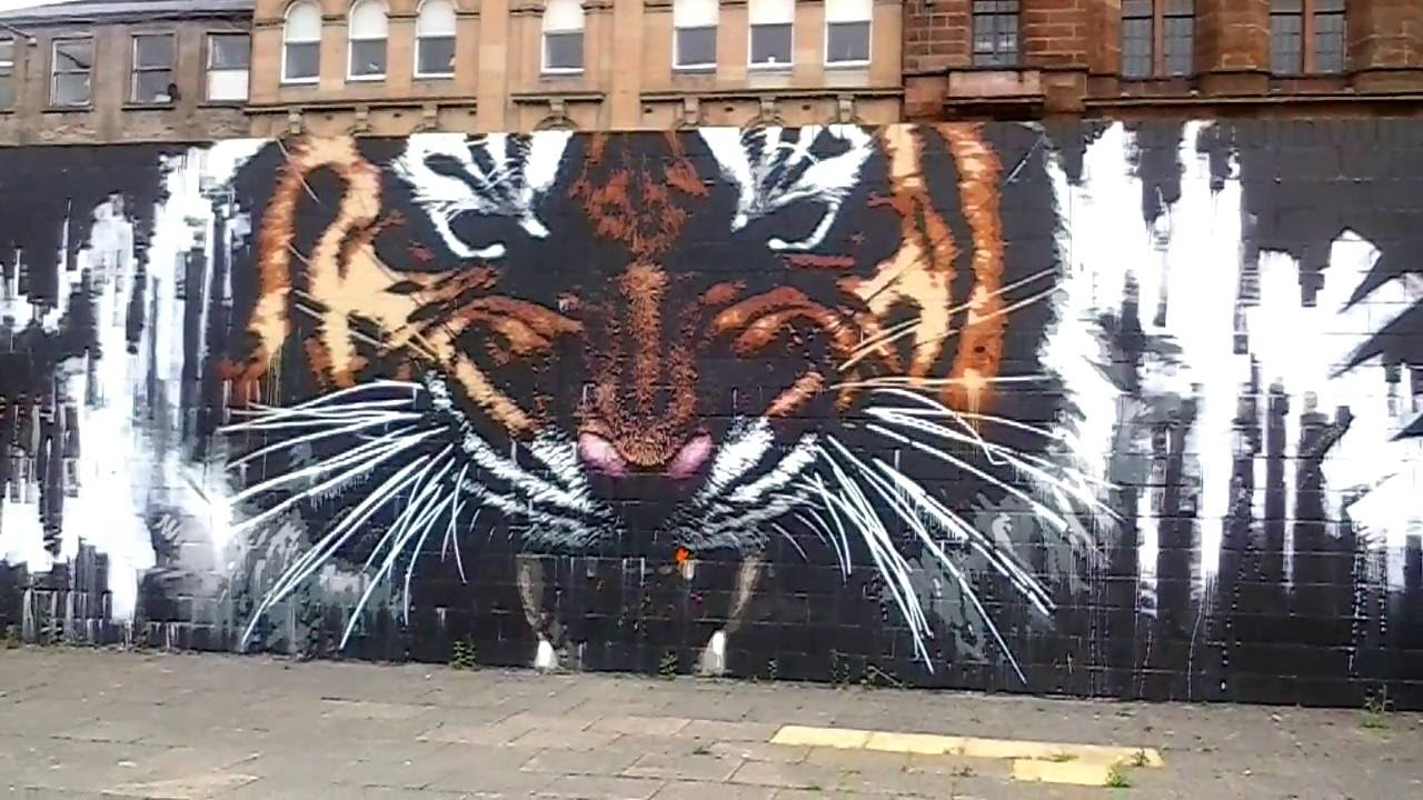 Tiger Mural From The Broomielaw On The Clyde Walkway In Glasgow Scotland
