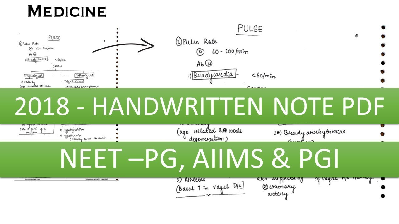 2018 Handwritten Notes PDF for NEET - PG, AIIMS, PGI