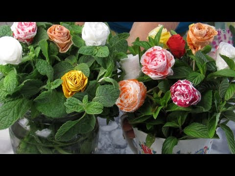 How To Make Colored Roses Out Of White Paper Napkins - DIY Paper Flowers Tutorial