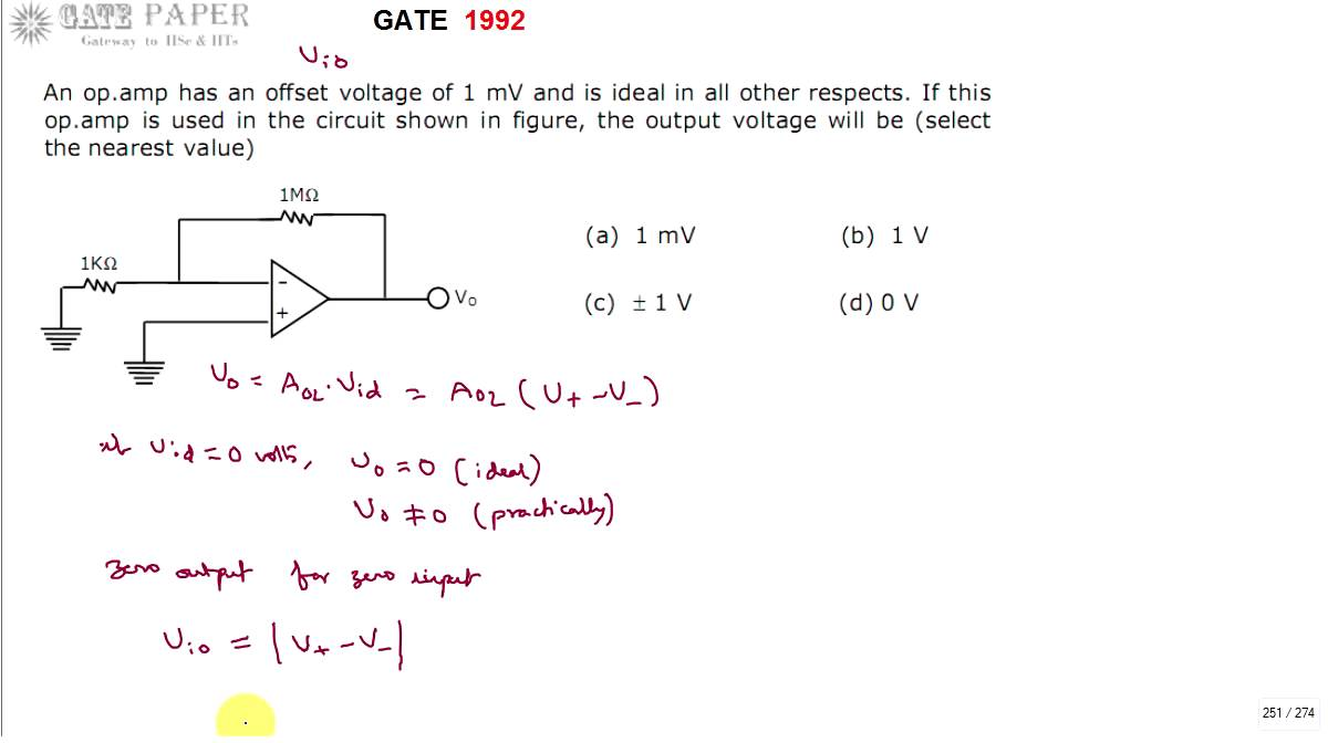 Gate 1992 Ece Output Voltage Of Operational Amplifier With An Input Opamp Offset 1 Mv