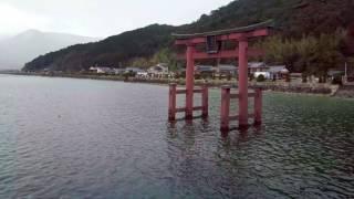 Shirahige Shrine 白鬚神社 - Floating Torii Gate Japan Winter Via Drone 4k
