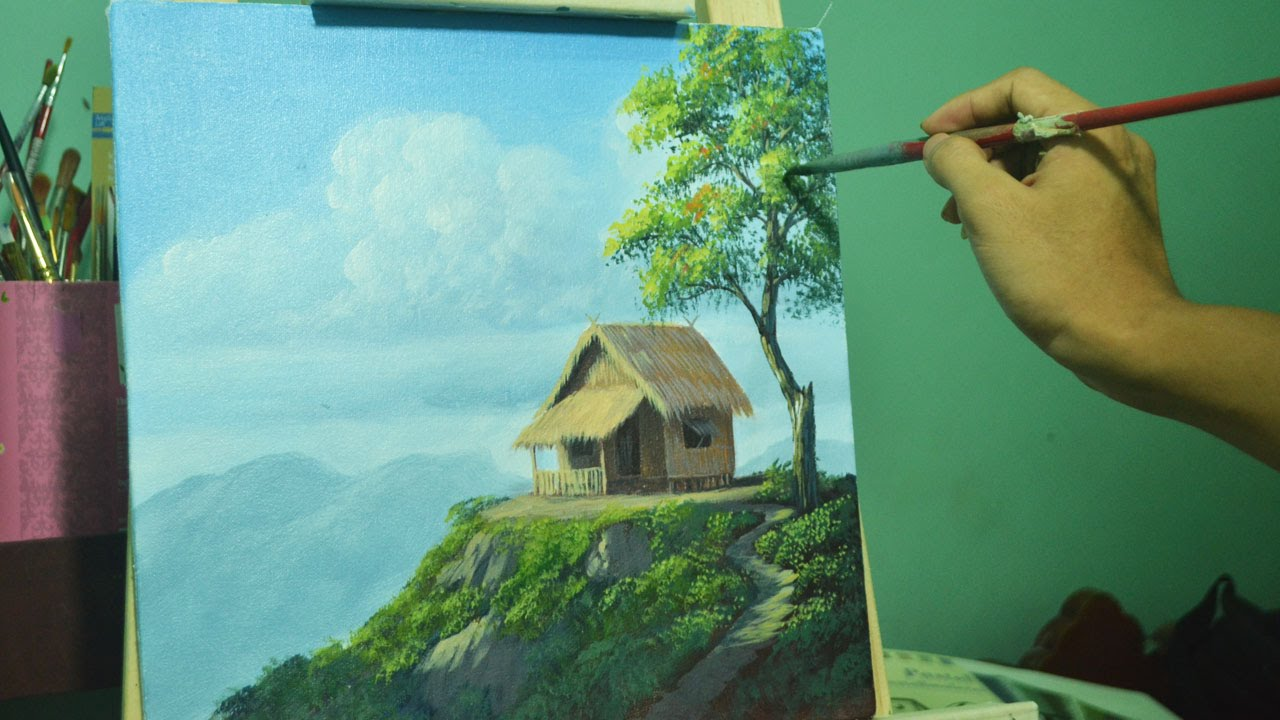 Acrylic landscape painting lesson house on top of hill by for Best mural paint