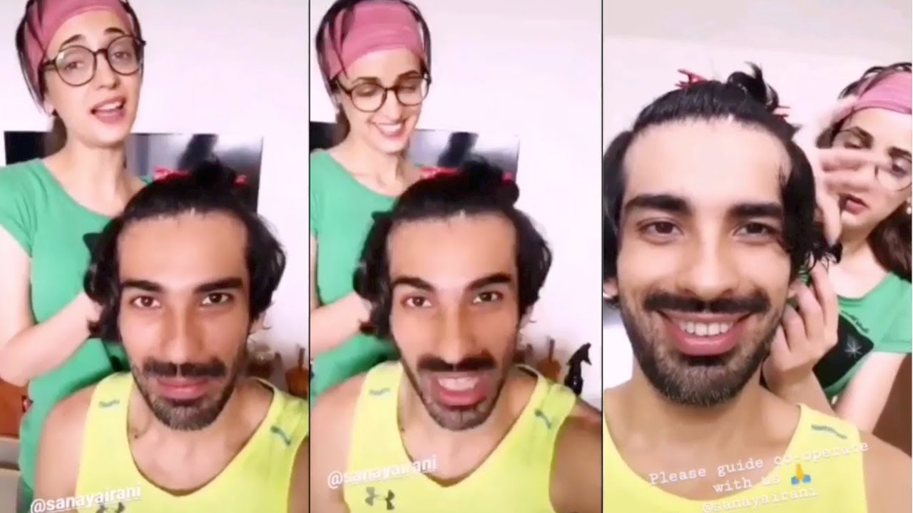 Sanaya Irani FUNNY Video With Mohit Sehgal || TURNS Hairstylist For Hubby