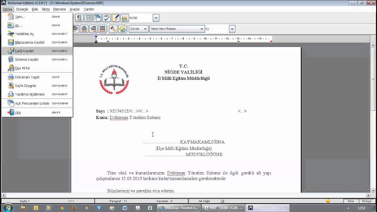 Download Dys Ders 17 - Resmi Yazı Yazma ve Elektronik İmzalama (Örnek)
