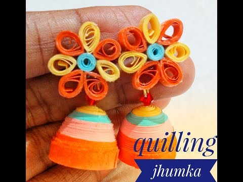 Quilling jhumka/paper jhumka tutorial/quilling jhumkas