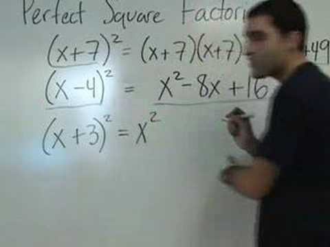 Algebra - Perfect Square Factoring and Square Root Property