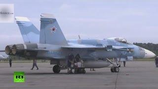 Американские F 16 «Агрессоры» выкрашены в Российский камуфляж.