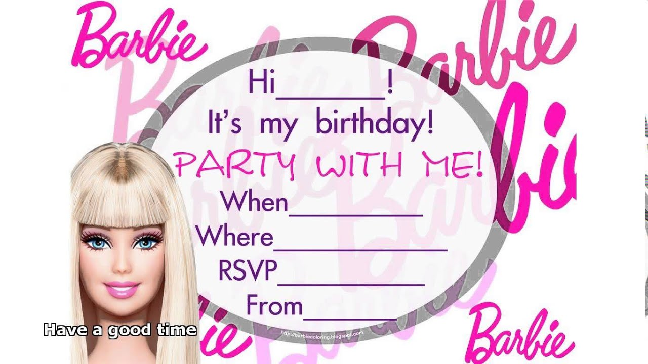 barbie birthday invitations YouTube
