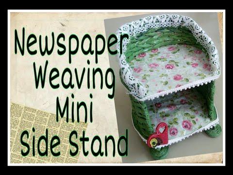 How to make Newspaper weaving Mini side stand/ Newspaper sideTable tutorial/Newspaper craft