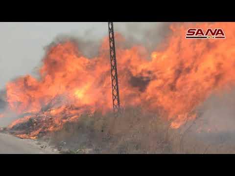 من جهود فرق الإطفاء ومؤازرة رجال الجيش في عمليات إطفاء الحرائق بريف اللاذقية