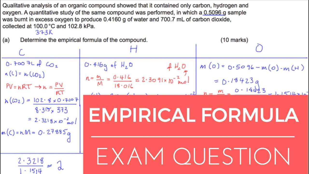 Empirical Formula - Example Exam Question