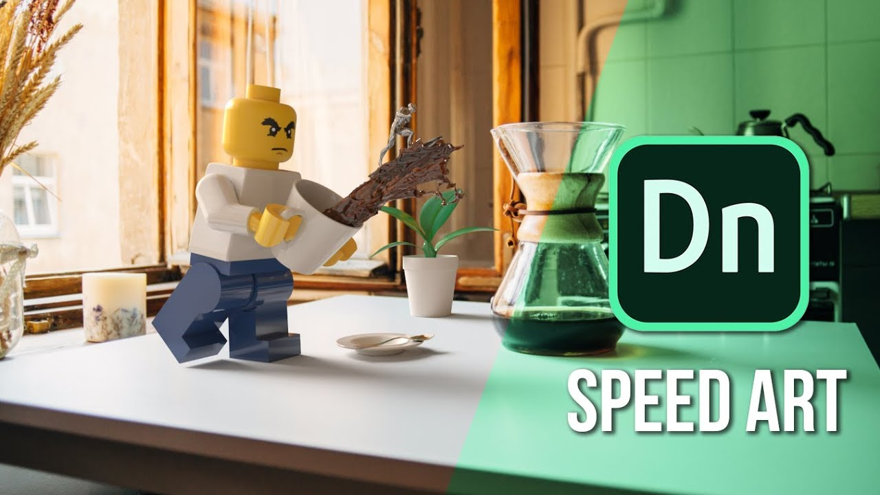 DN TUTORIAL: Adobe Dimension CC | Speed Art – Coffee Time