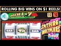 BIG WINS MAX BETTING $1 REEL SLOT MACHINES - Roll a 7, Pinball, Diamond Jackpots