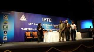 Prof RK Sinha Receiving IETE-BBS award for research work.mp4