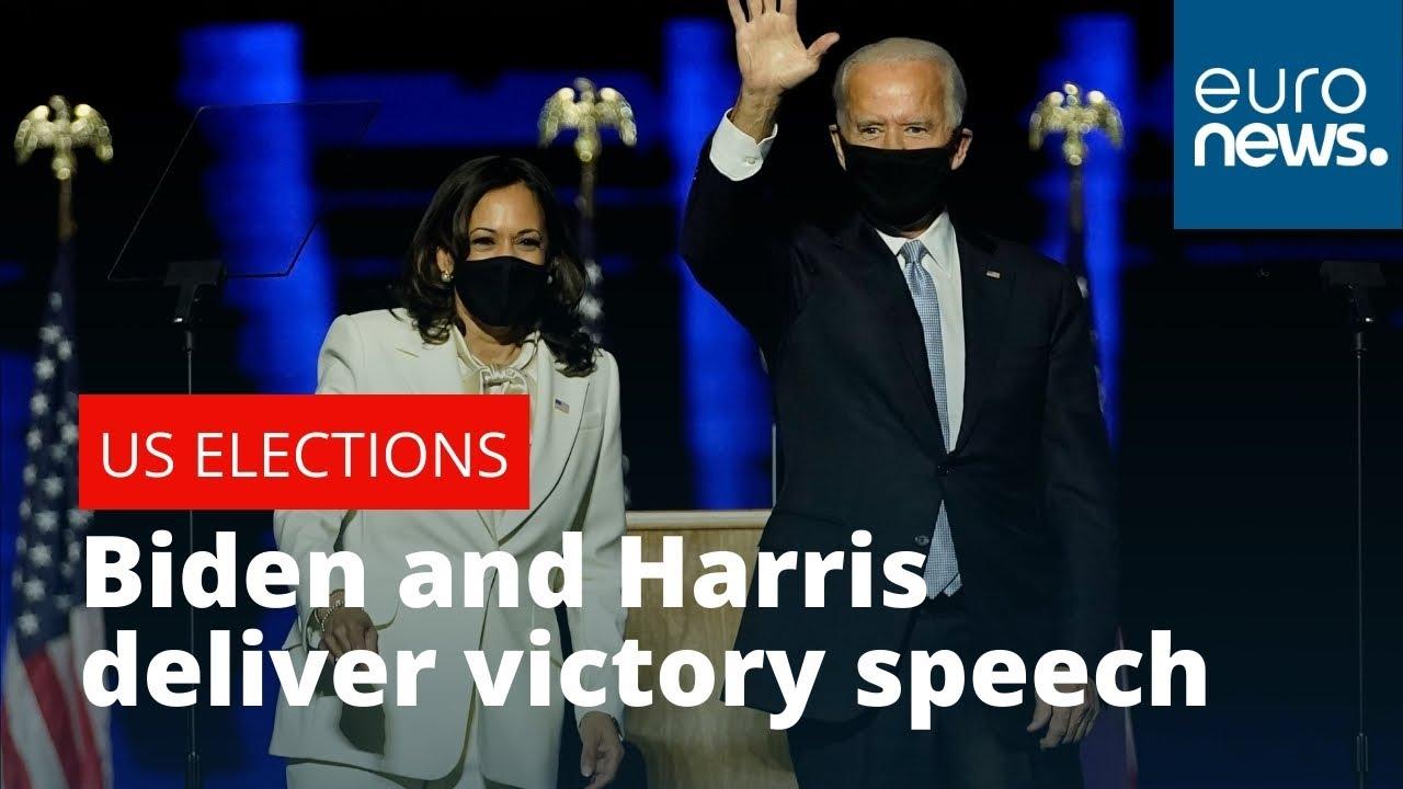 Vice President-elect Kamala Harris and President-elect Joe Biden delivers a victory speech