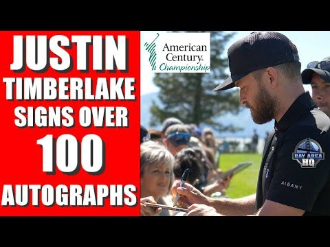 JUSTIN TIMBERLAKE signs OVER 100 Autographs at American Century Championship 2017 - 4K GH5 60FPS