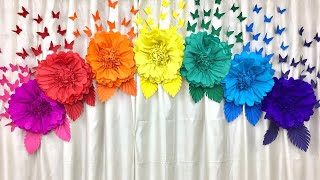 Easy paper flowers birthday decoration at home|