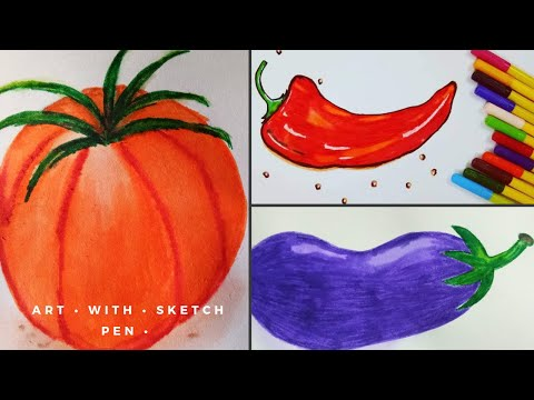 How To Draw Chilli Step By Step | Sketch Pen Art
