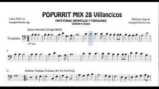 28 Popurrí Mix Villancicos Partituras de Trombón Dulce Navidad Adeste Fideles Los Campanilleros