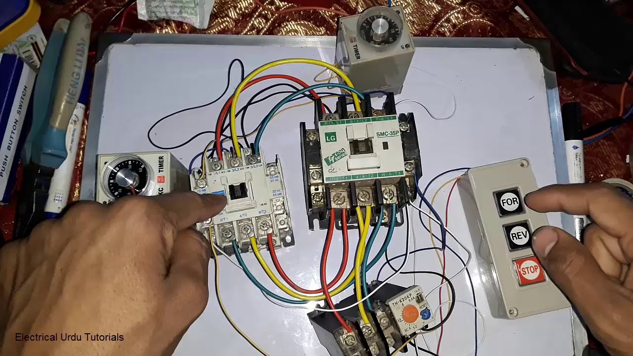 small resolution of 3 phase motor forward reverse circuit with 2 timer connection hindi phase reversing contactor wiring for dual motors
