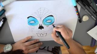 Speed painting:  Día de los muertos // Mexican Skull drawing with markers  (time lapse)