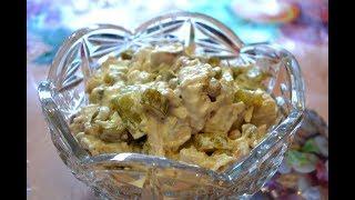 Салат из куриной грудки с огурцами./Salad of chicken breast with cucumber.