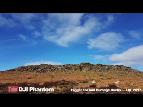 DJI Phantom 4 Burbage Rocks / Higger Tor Dark Peaks UK 2017