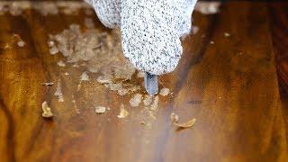 Берем инструменты и смело царапаем полировку на столе. Результат - просто сказка!