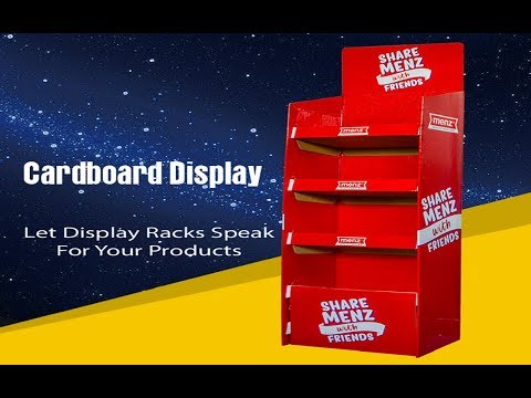 Red Eye-Catching Custom Retail Cardboard Display Stand Rack With Buckles
