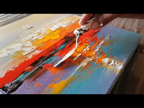 Abstract painting / Abstract landscape 12 / Easy in Acrylics / Demonstration