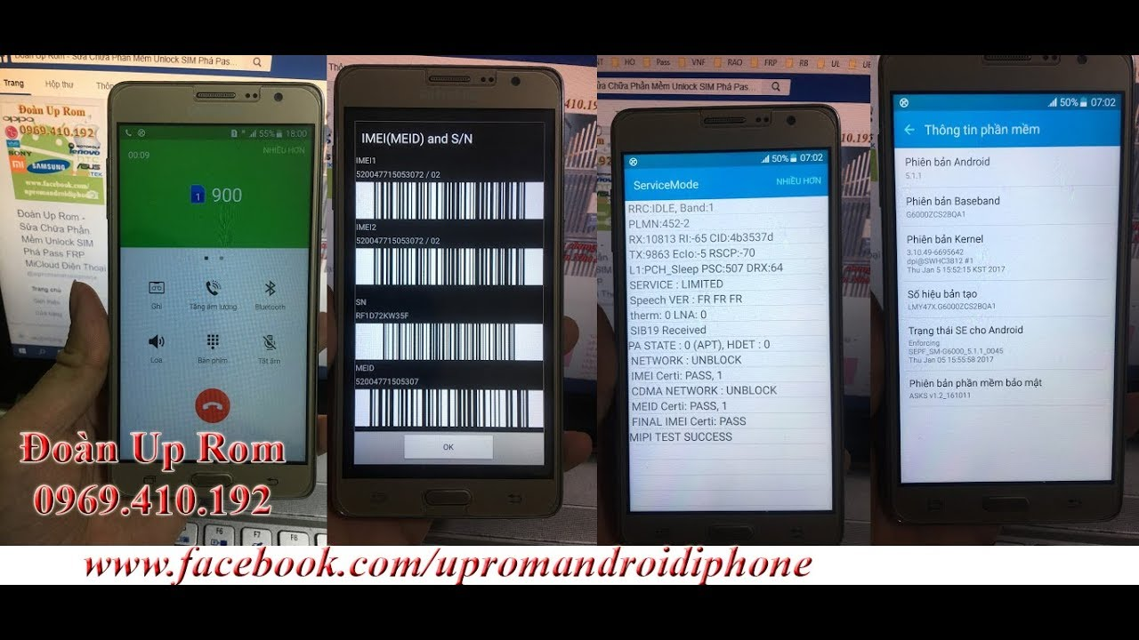 Samsung On 7 G6000 Fix Repair IMEI Baseband null 15 số 0 sửa