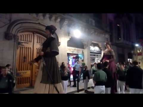 Colorful giants (Gigantes) march in Barri Gotic, Barcelona