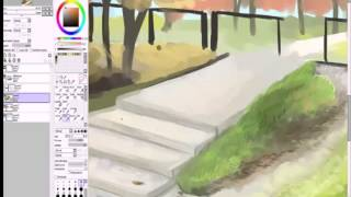 """Paint Tool Sai Урок """"Пейзаж - это просто"""" Часть 2"""