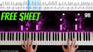 911 Piano (Cover) | Lady Gaga 911 (Piano Tutorial) |Lady Gaga 911 Piano (Notes) видео