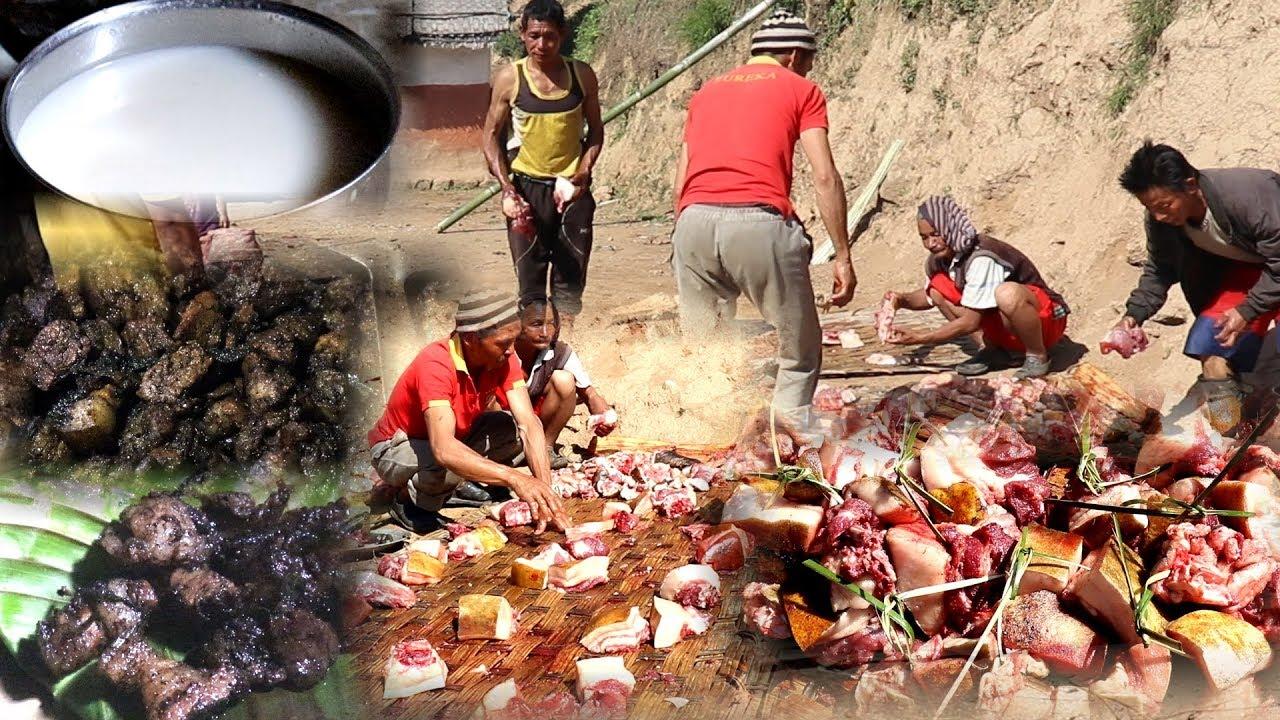 Download 100KG Local Village Pork Sharing , Cooking  &  Eating Together || HUG  butchering in village ||