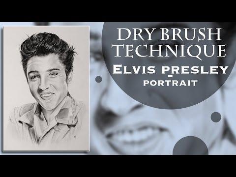 Elvis Presley, portrait in dry brush technique
