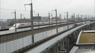 ダブルすれ違い!JR東日本E4系&E7系&さいたま新都心交通ニューシャトル2000系 パノラマデッキにて