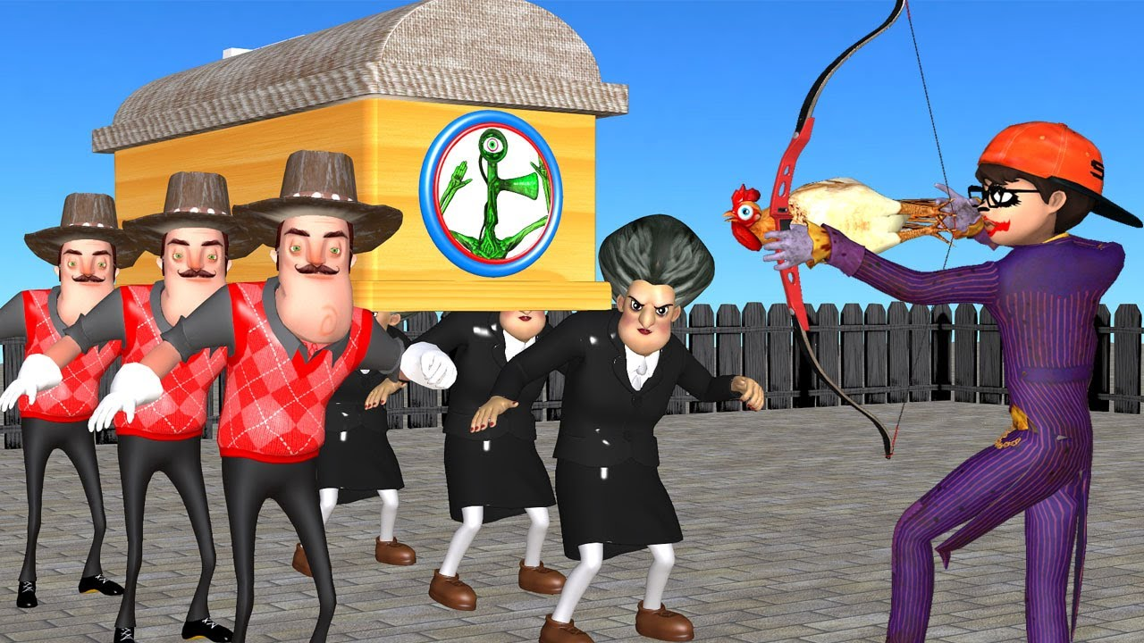 Scary Teacher 3D NickJoker Troll Siren Head with Rooster - Hello Neighbor Coffin Dance Compilation