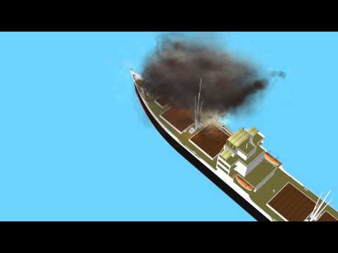 fire and explosion on cargo ship 4 - blue screen effect - \