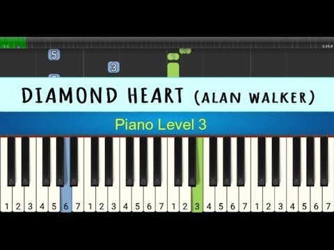 Nada Piano Diamond Heart - Alan Walker - Belajar Piano Tingkat 3 - Instrumental