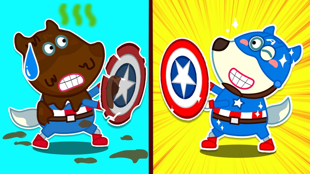 Download Wolf family | Captain America Wolfoo is Covered in Full of Mud
