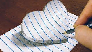 3D DRAWING TRICKS - HEART ON LINE PAPER - STEP BY STEPS - BY VAMOS