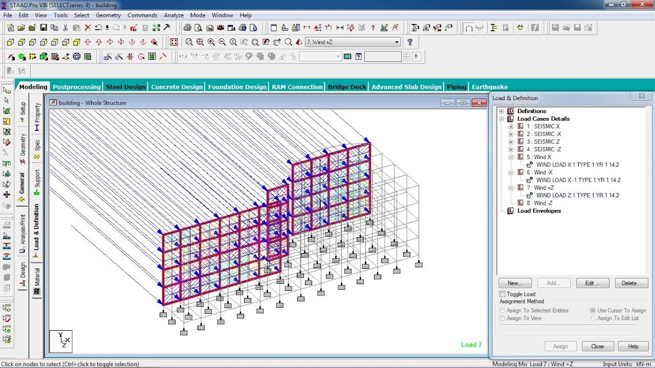 STAAD Pro Tutorials - Wind Load Analysis of a G+4 Commercial Building  Part-4 ( Day 48)