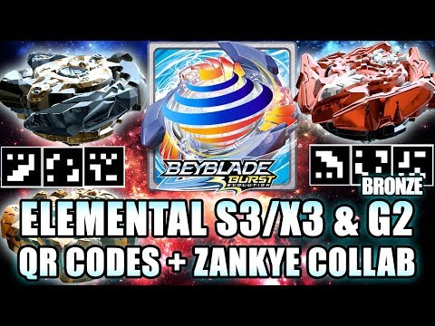 QR CODES ELEMENTAL SPRYZEN S3, BRONZE G2 + ZANKYE COLLAB! - BEYBLADE BURST APP