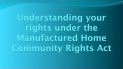 Manufactured Home Community Rights Act