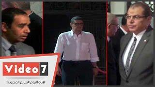 بالفيديو..محمود طاهر وعبد الحميد بسيونى وسمير عثمان فى عزاء شقيقة الخطيب