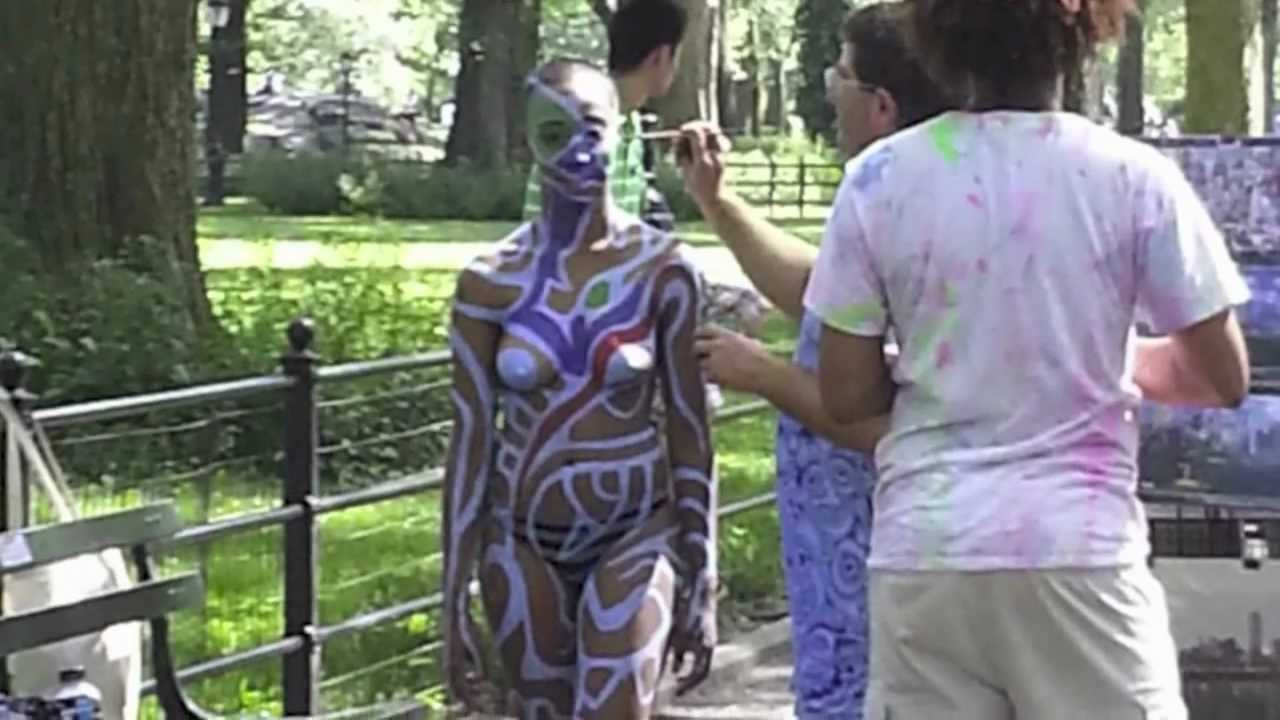 body painting in central park youtube