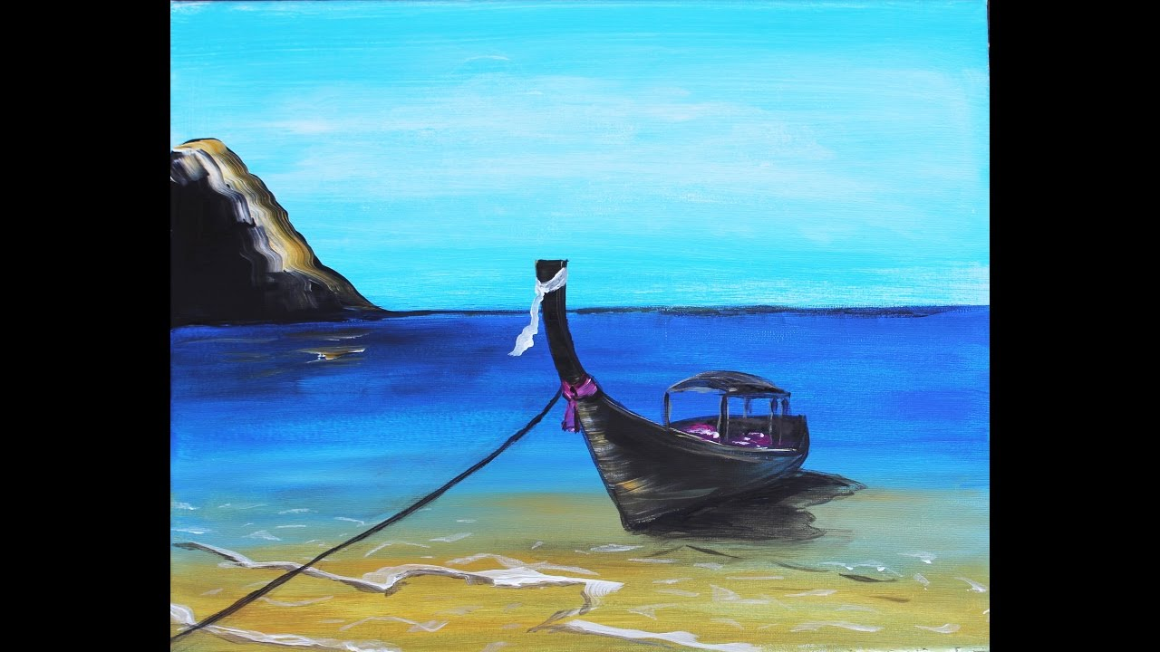 How To Paint A Thai Tropical Beach Easy Acrylic Painting Tutorial For Beginners